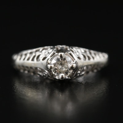 Vintage 14K Diamond Openwork Ring