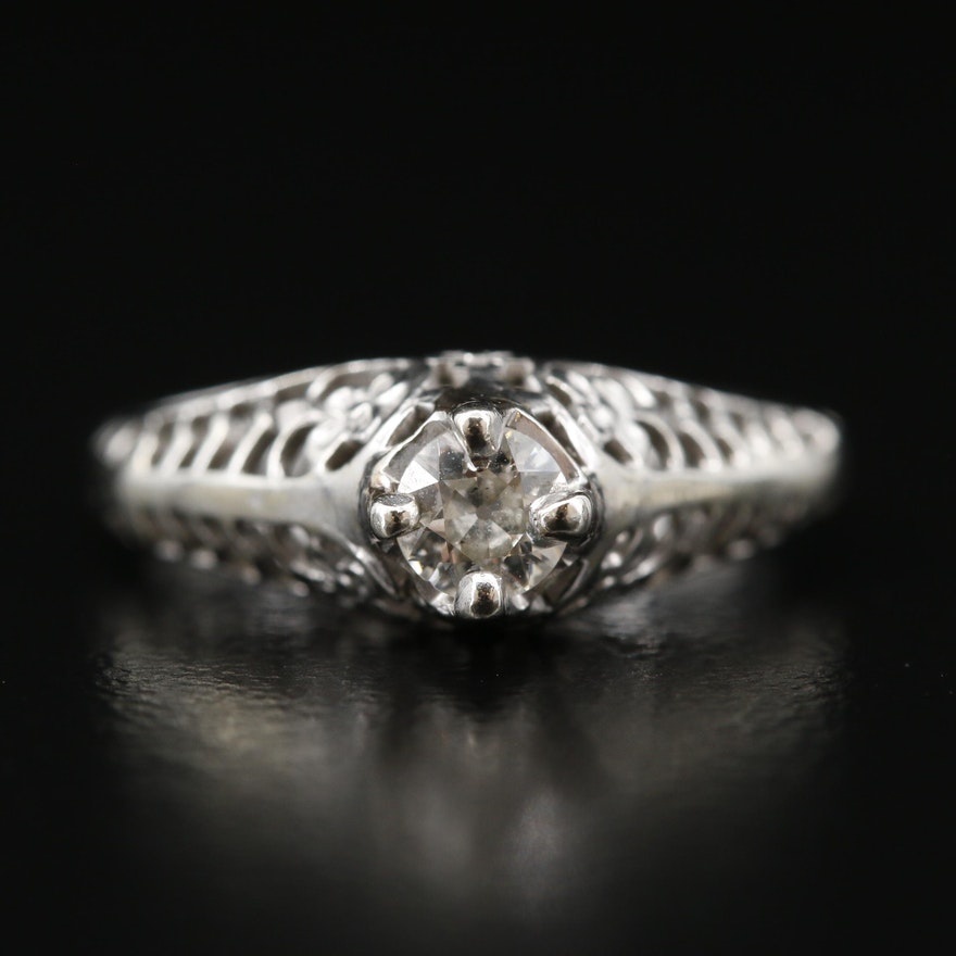 Vintage 14K Diamond Openwork Ring