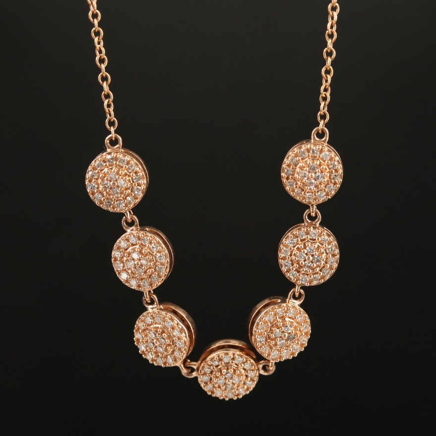 14K Rose Gold Diamond Cluster Necklace