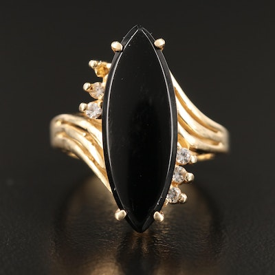 14K Black Onyx and White Spinel Bypass Ring