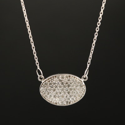 14K Pavé Diamond Stationary Pendant Necklace