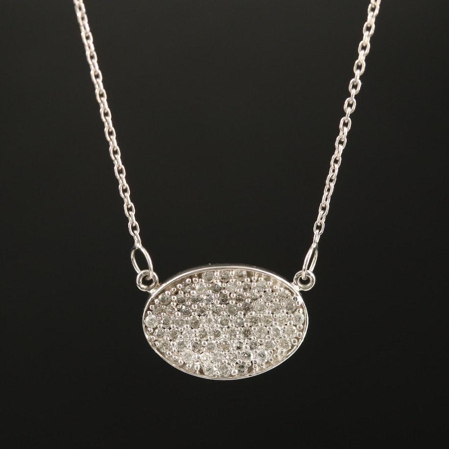 14K Pavé Diamond Stationary Pendant Necklace