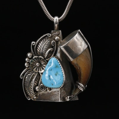 Sterling Silver Black Bear Claw and Turquoise Necklace