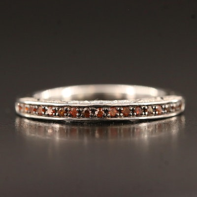 Diamond Band with Patterned Gallery in Sterling Silver