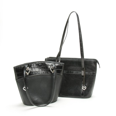 Brighton Black Croc-Embossed and Pebbled Leather Handbags