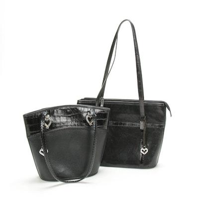 Brighton Black Croc-Embossed and Pebbled Leather Handbags