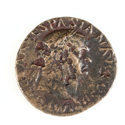 Ancient Roman Imperial AE Dupondius Coin of Vespasian, ca. 70 A.D.