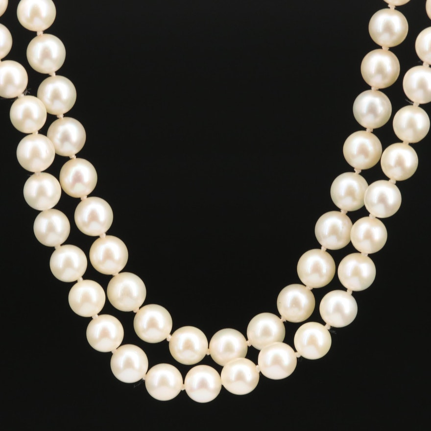 Double Strand Pearl Necklace with 14K Clasp