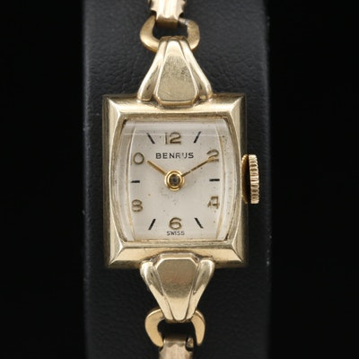 Vintage Benrus 14K Gold Stem Wind Wristwatch