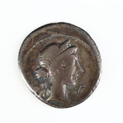 Ancient Roman Imperial AR Denarius of Julius Caesar, ca. 46 B.C.