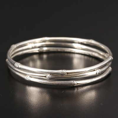 "John Hardy ""Bamboo"" Sterling Silver Bangles"
