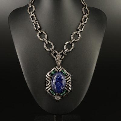 Sterling Tanzanite, Emerald and 13.46 CTW Diamond Necklace