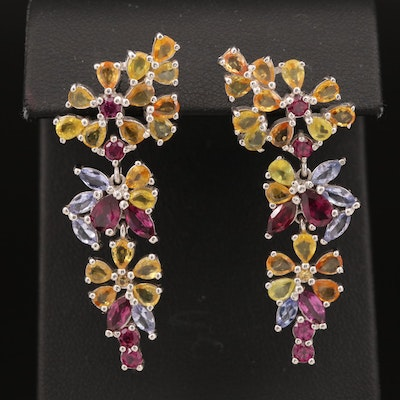 Sterling Sapphire, Tanzanite and Garnet Floral Drop Earrings