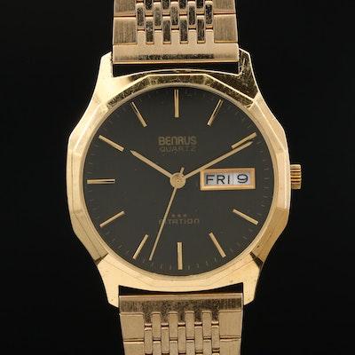 """Vintage Benrus """"Citation"""" Day-Date Gold Tone Quartz Wristwatch"""
