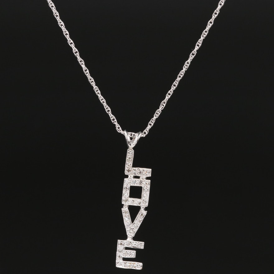 "14K Diamond ""LOVE"" Necklace"