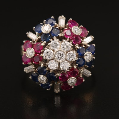 Vintage 18K Diamond, Ruby and Sapphire Cluster Ring