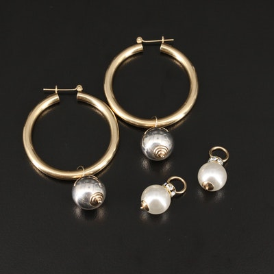 14K Hoop Earrings with Interchangeable Sterling Enhancers