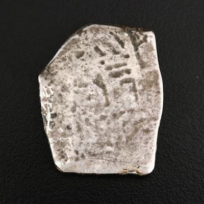 "Spanish 4-Reales Silver Cob ""Shipwreck"" Coin, ca. 1600"