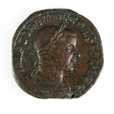 Ancient Roman Imperial AE Sestertius Coin of Gordian III, ca. 238 A.D.