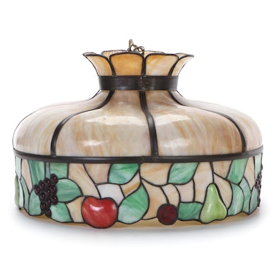 Fruit Motif Slag Glass Hanging Pendant, Early to Mid 20th Century