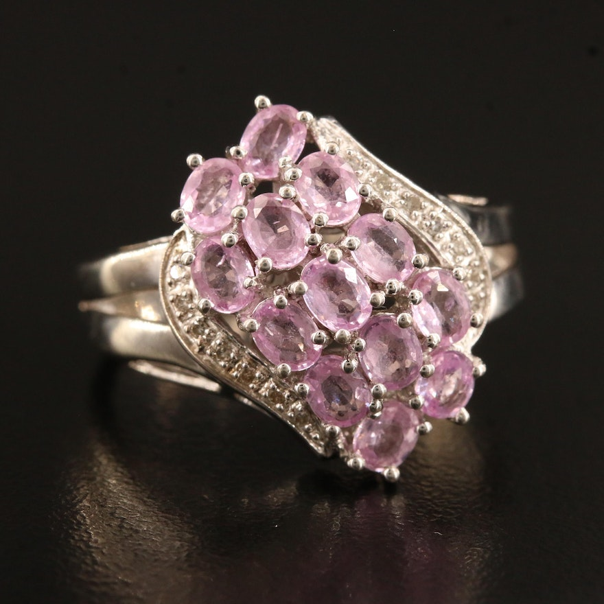 Sterling Silver Sapphire and Diamond Cluster Ring