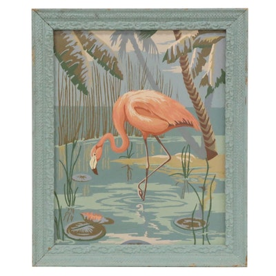 Paint-by-Numbers Acrylic Painting of Flamingo, Late 20th Century