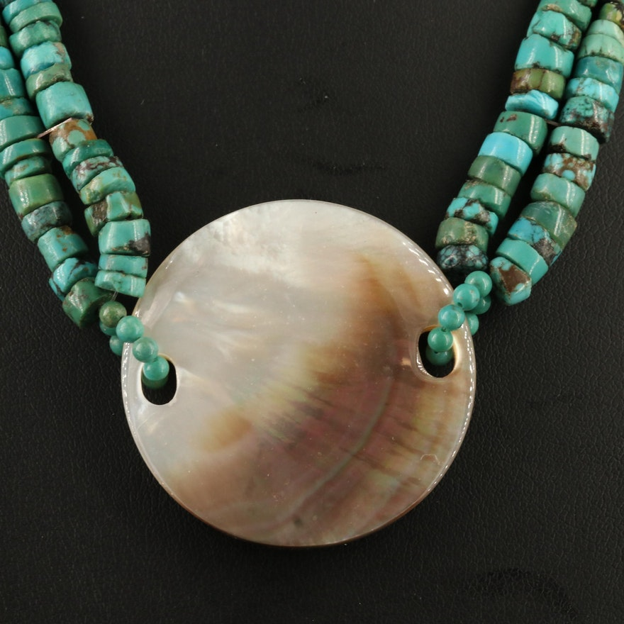 Double Strand Mother of Pearl and Turquoise Necklace with Sterling Clasp