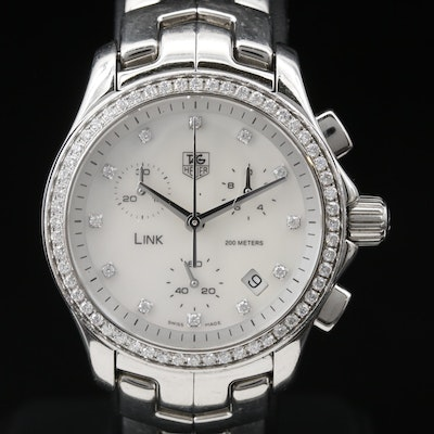 TAG Heuer Link Chronograph MOP,  Diamond and Stainless Steel Quartz Wristwatch
