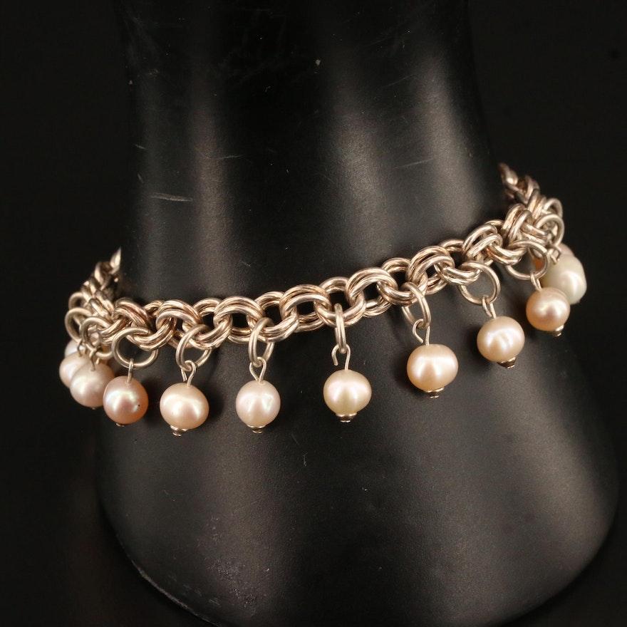 Sterling Silver Pearl Dangle Link Bracelet