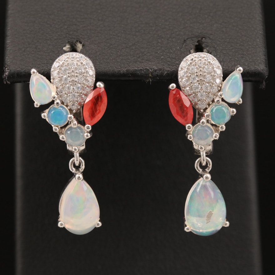 Sterling Opal, Sapphire and Cubic Zirconia Cluster Dangle Earrings