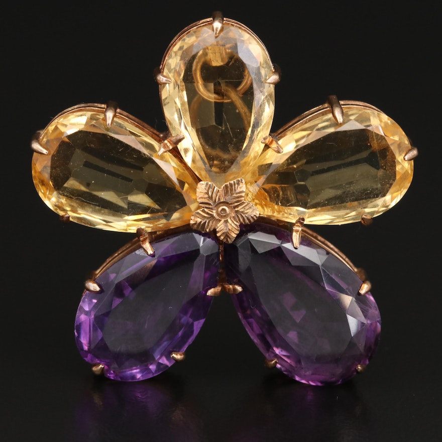 14K Citrine and Amethyst Flower Converter Brooch