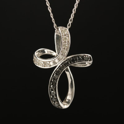Sterling Diamond Butterfly Pendant Necklace