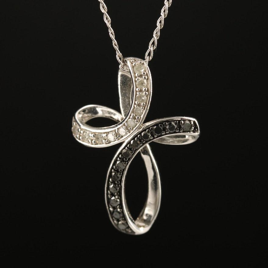Sterling Diamond Butterfly Pendant Necklace