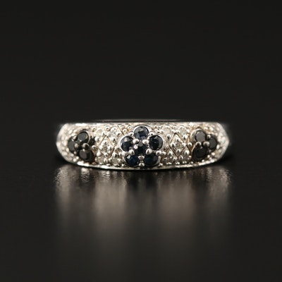 Sterling Silver Diamond Flower Band Including Black Diamonds