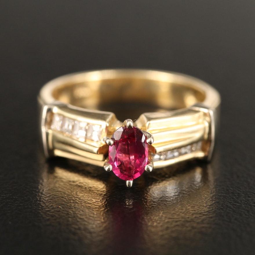 14K Tourmaline and Channel Set Diamond Ring