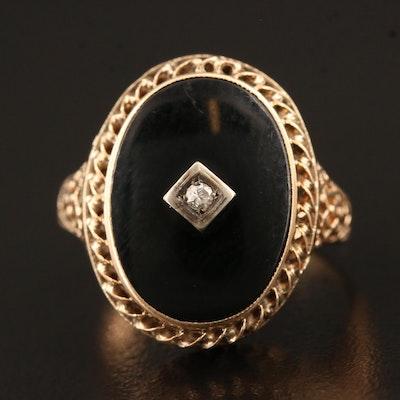 Vintage 10K Black Onyx Openwork Ring with Diamond Accent