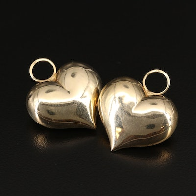 14K Puff Heart Earring Enhancers