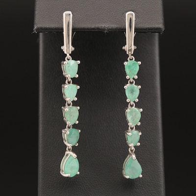 Sterling Silver Emerald Drop Earrings