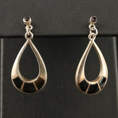 Sterling Black Onyx Inlay Dangle Earrings