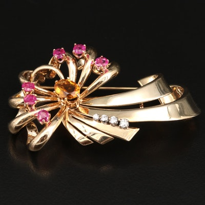 Retro 14K Citrine, Ruby and Diamond Brooch with Palladium Accents