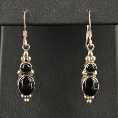 Sterling Silver Black Onyx Dangle Earrings