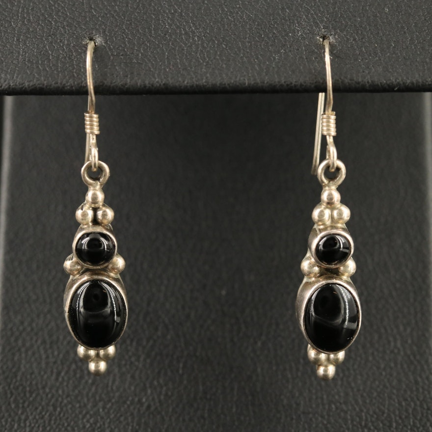 Sterling Silver Black Onyx Dangle Earrings