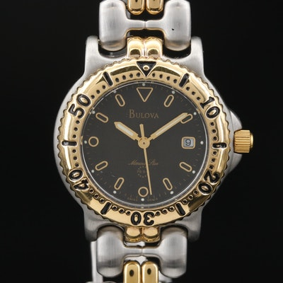 "Bulova ""Marine Star"" Two Tone Stainless Steel Quartz Wristwatch"