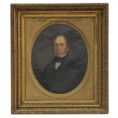 Continental School Style Oil Portrait of Gentleman, 19th Century