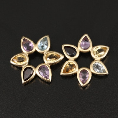 14K Earring Enhancers with Amethyst, Citrine, Garnet and Topaz