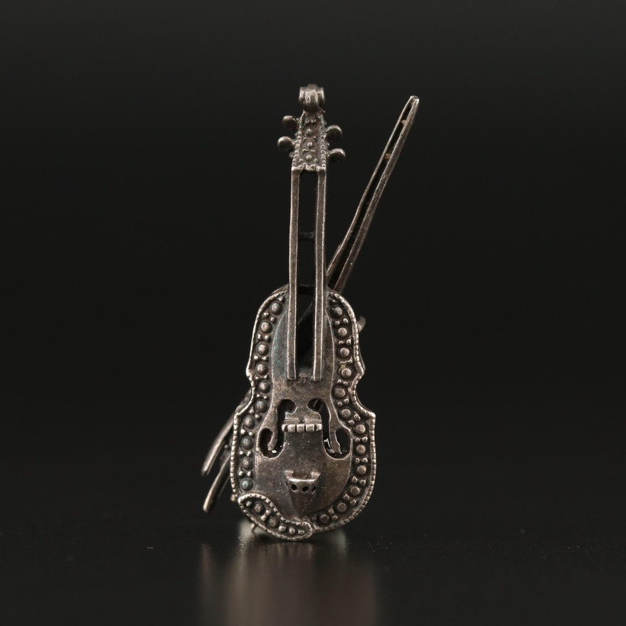 Sterling Silver Violin and Bow Brooch