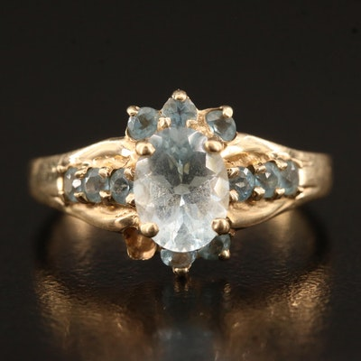 10K Aquamarine Ring