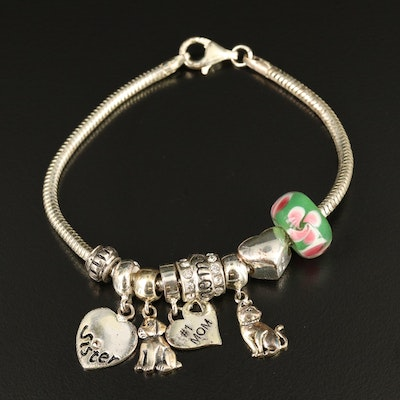 Sterling Charm Bracelet Including Rhinestone and Lampwork Glass Charms