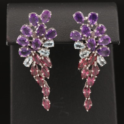 Sterling Silver Amethyst, Aquamarine and Garnet Cluster Earrings