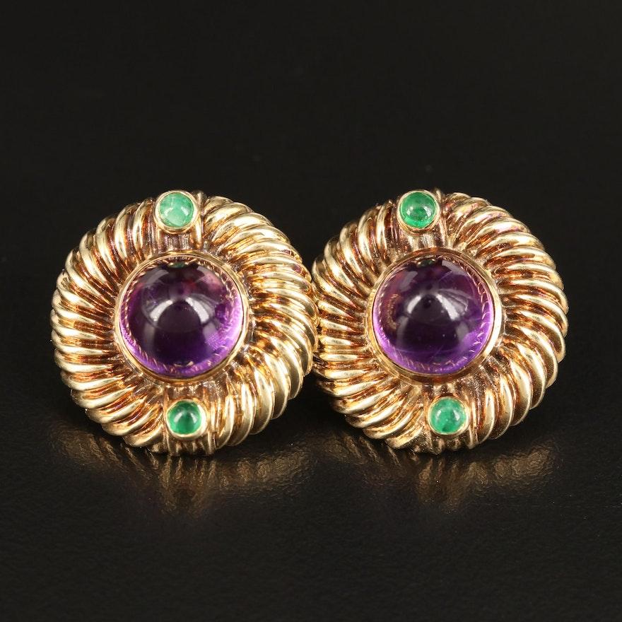 14K Amethyst and Earring Button Earrings